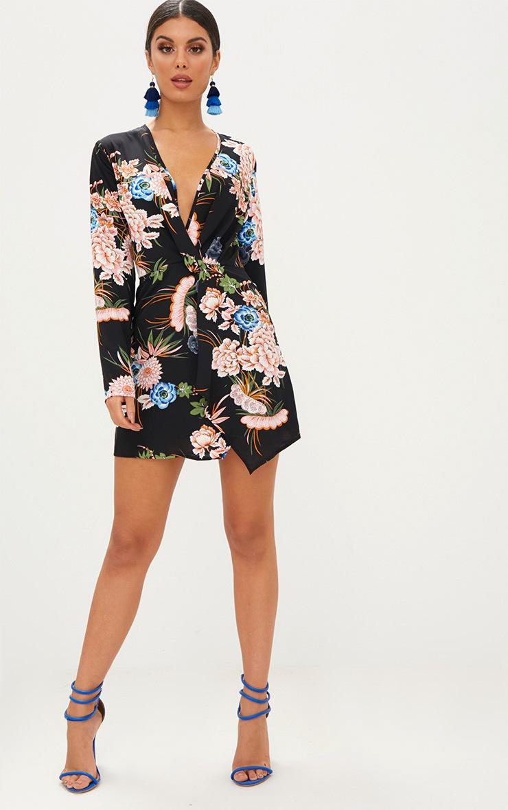 Black Floral Long Sleeve Wrap Dress 3
