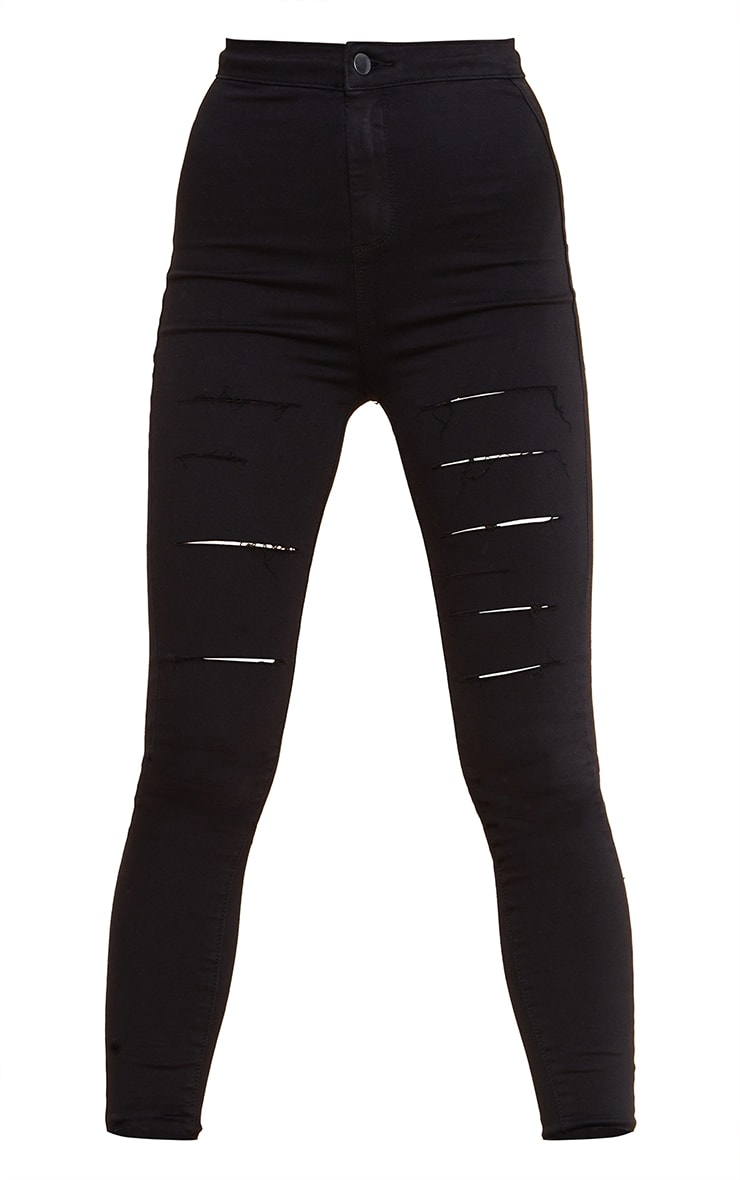 PRETTYLITTLETHING Tall Black Rip Ripped Disco Skinny Jeans 5