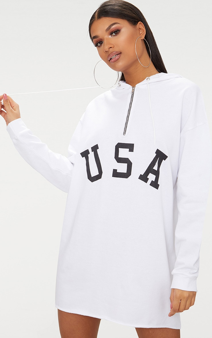 White USA Zip Hooded Sweater Dress 1