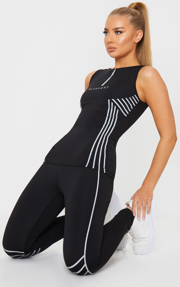 PRETTYLITTLETHING Black Sport Line Detail Zip Up Gym Vest 3