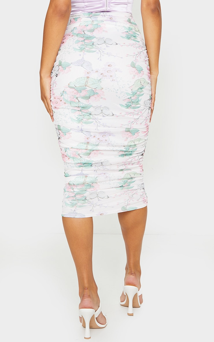 White Floral Mesh Ruched Midi Skirt 3