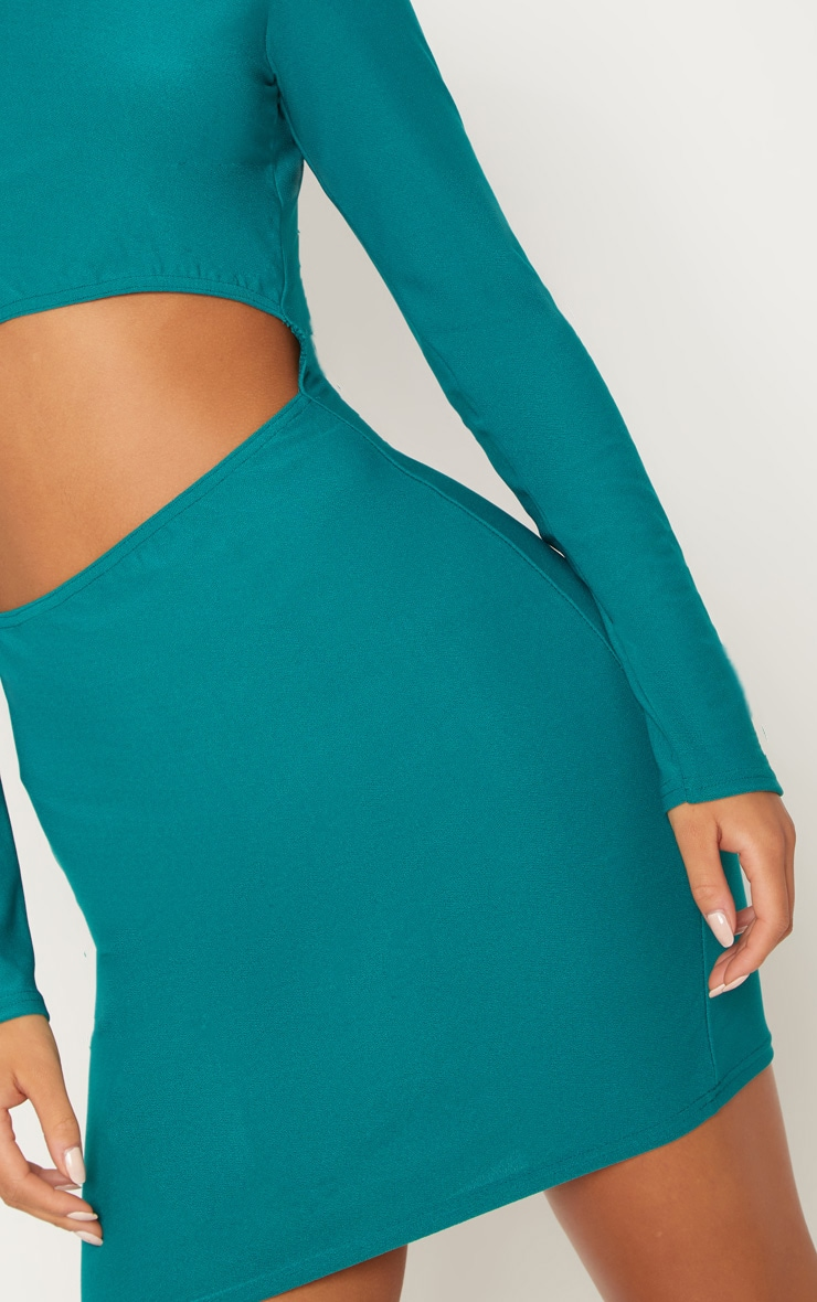 Deep Turquoise Long Sleeve Cut Out Bodycon Dress 5