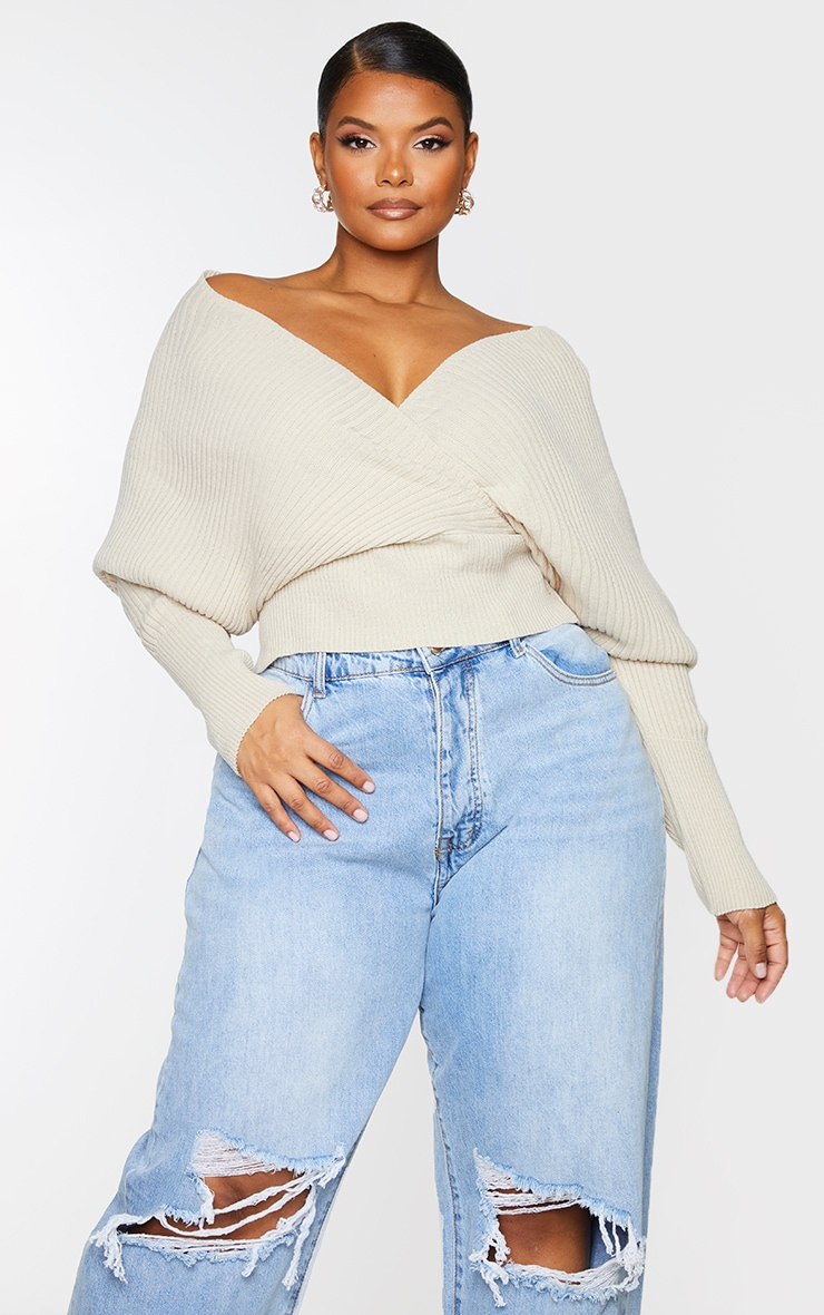 Plus Stone Wrap Off The Shoulder Sweater 1