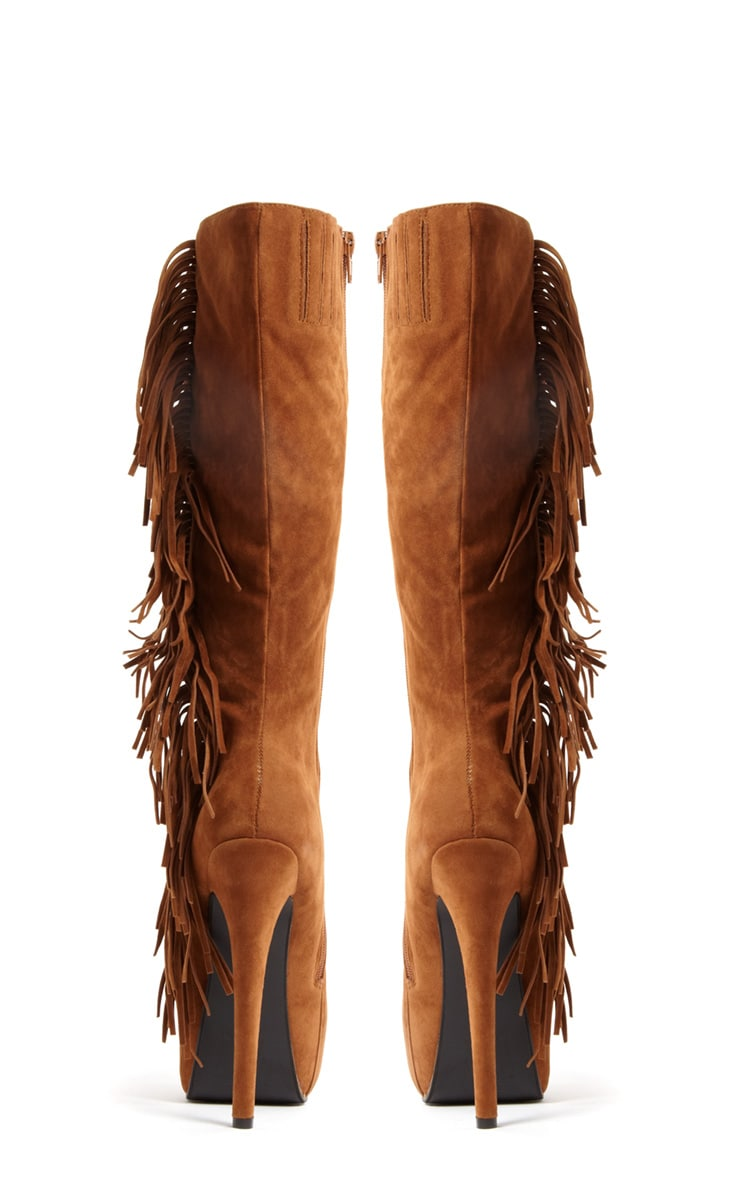 Knee Length Fringe Embellished High Heel Boots 3