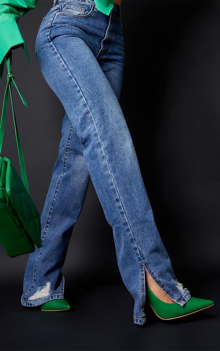 Mid Blue Wash Ripped Split Hem Straight Leg Jeans 4