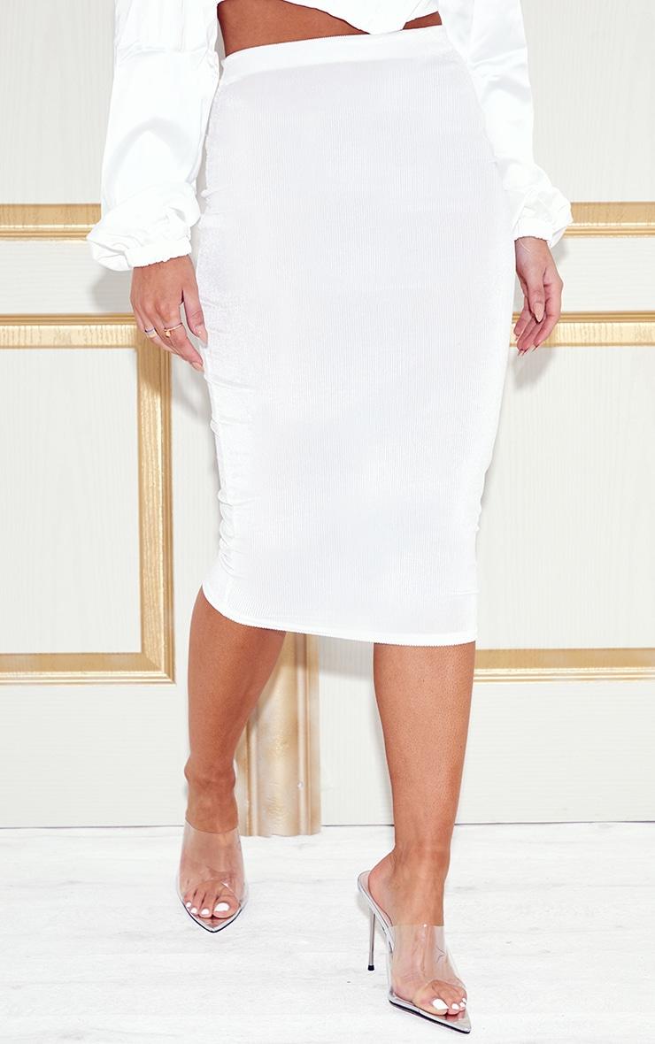 White Velvet Midi Skirt  2