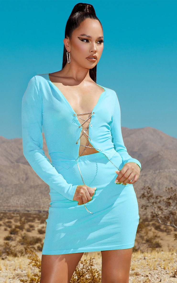Baby Blue Diamante Lace Up Knitted Top 1