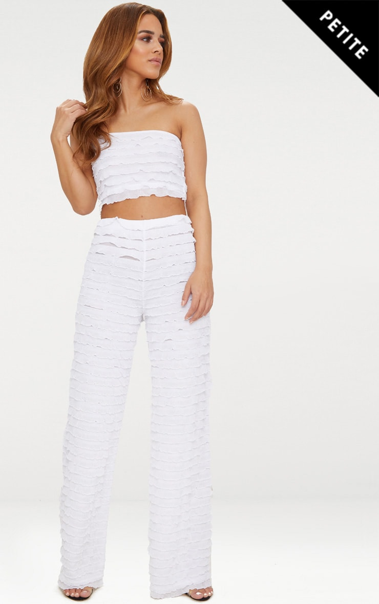 Petite White Ruffle Detail Wide Leg Trousers 1
