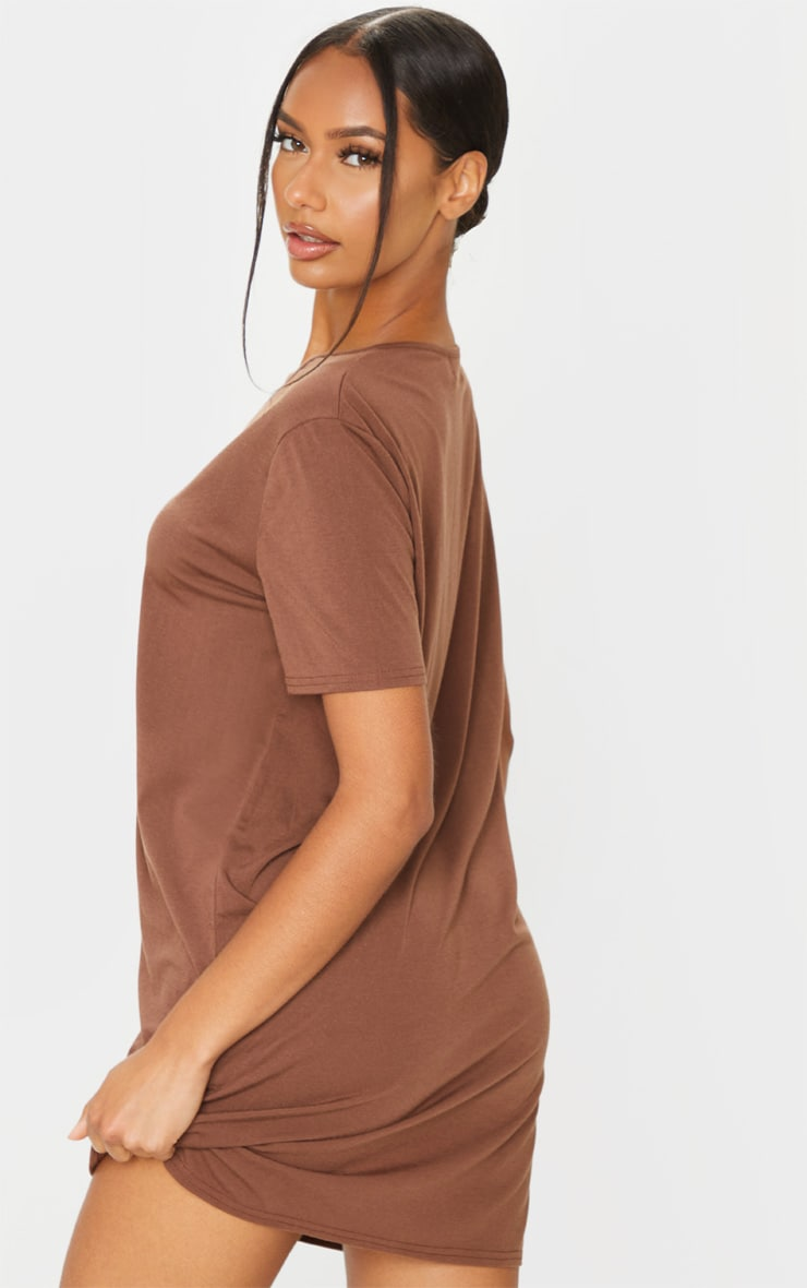 RECYCLED PRETTYLITTLETHING Chocolate Slogan T Shirt Dress 2