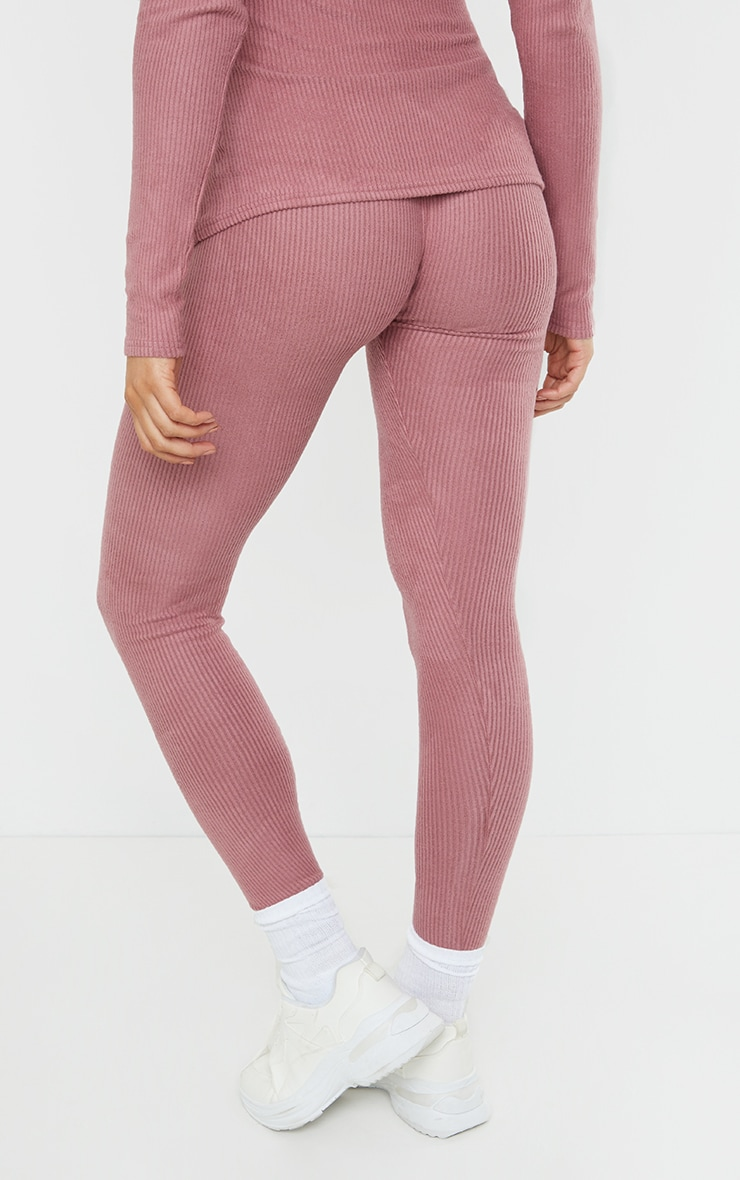 Maternity Dusty Rose Ruched Brushed Leggings 3