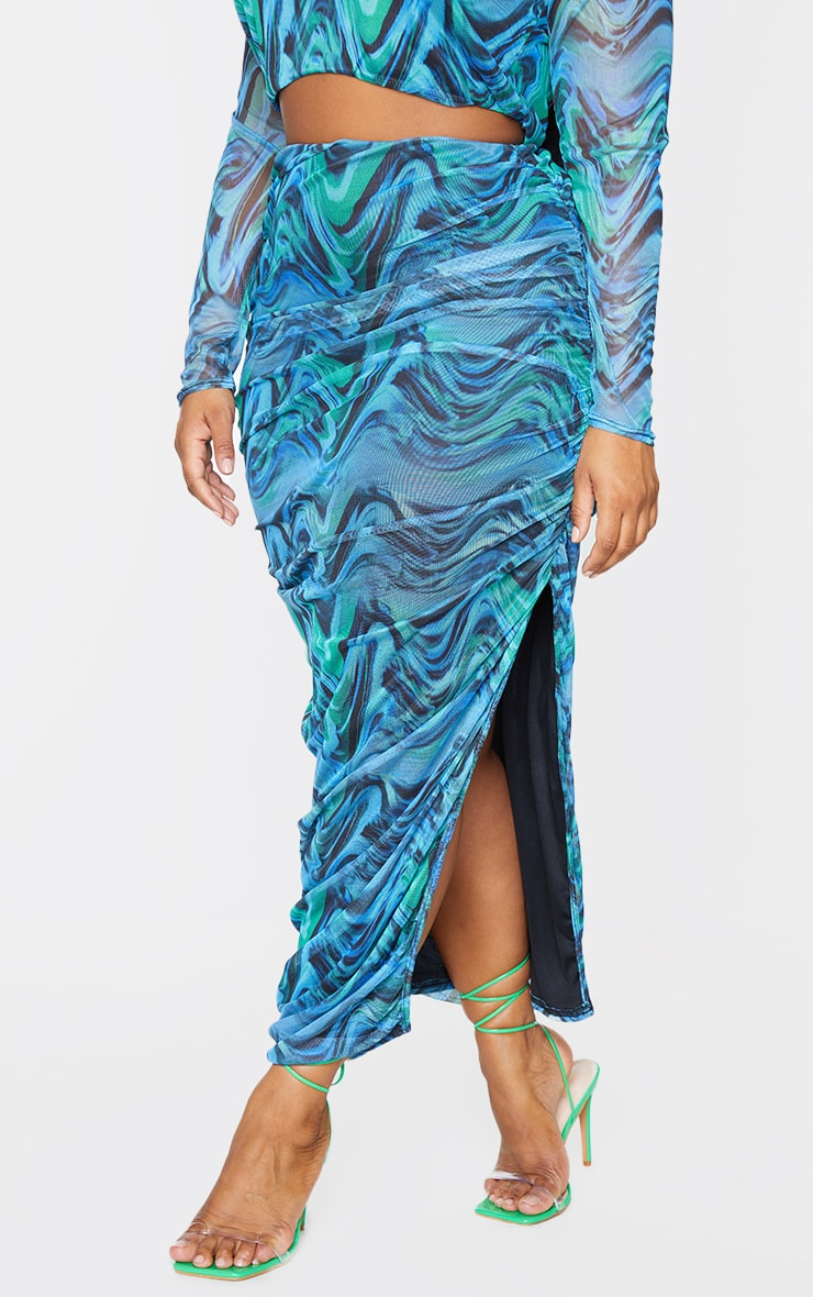 Plus Blue Abstract Print Layered Mesh Ruched Split Detail Maxi Skirt 2