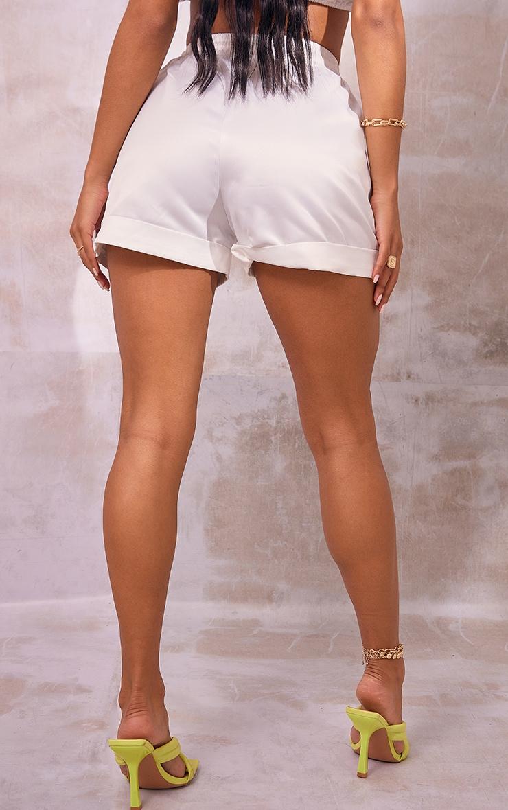 White Satin Turn Up Hem Floaty Shorts 3