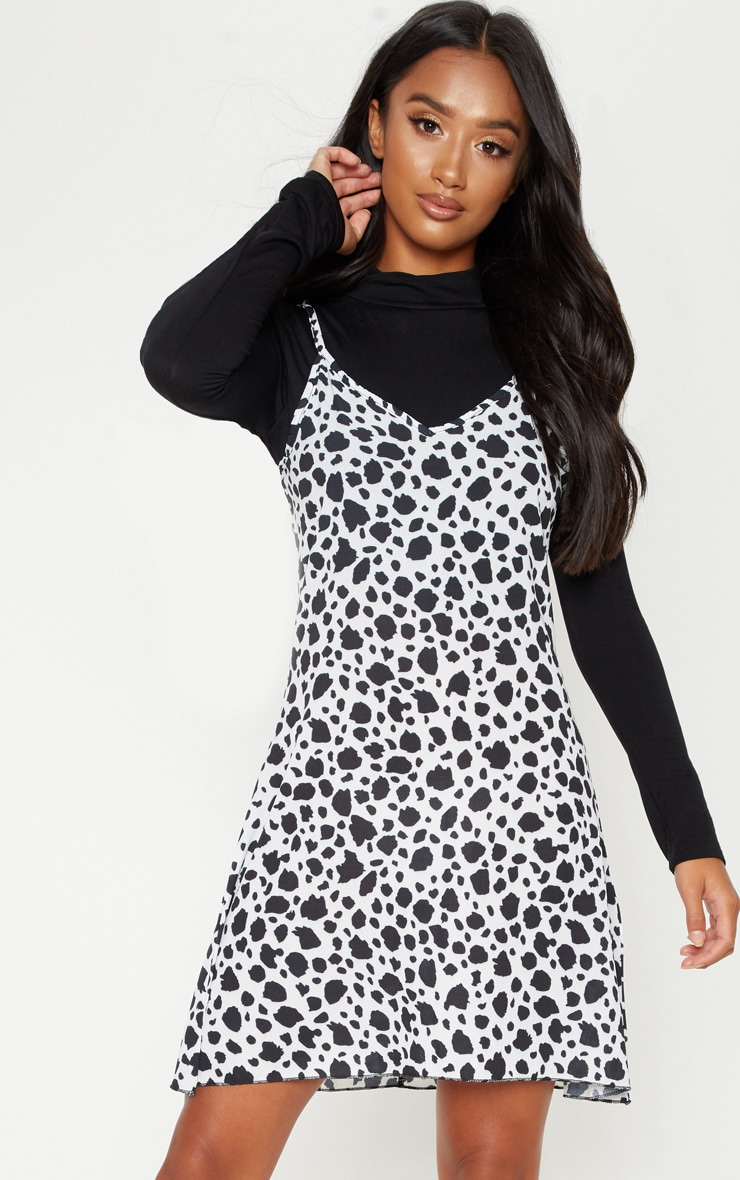 Petite White Dalmatian Print Swing Dress 4