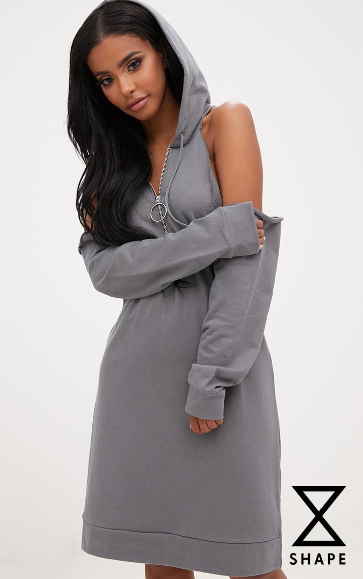 Shape Petrol Blue Cold Shoulder O Ring Jumper Dress 1