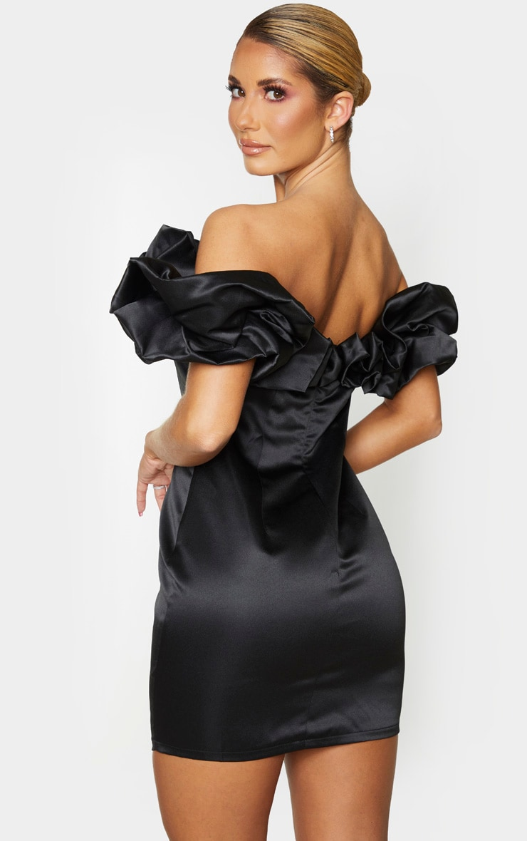 Black Satin Ruffle Bardot Bodycon Dress 2