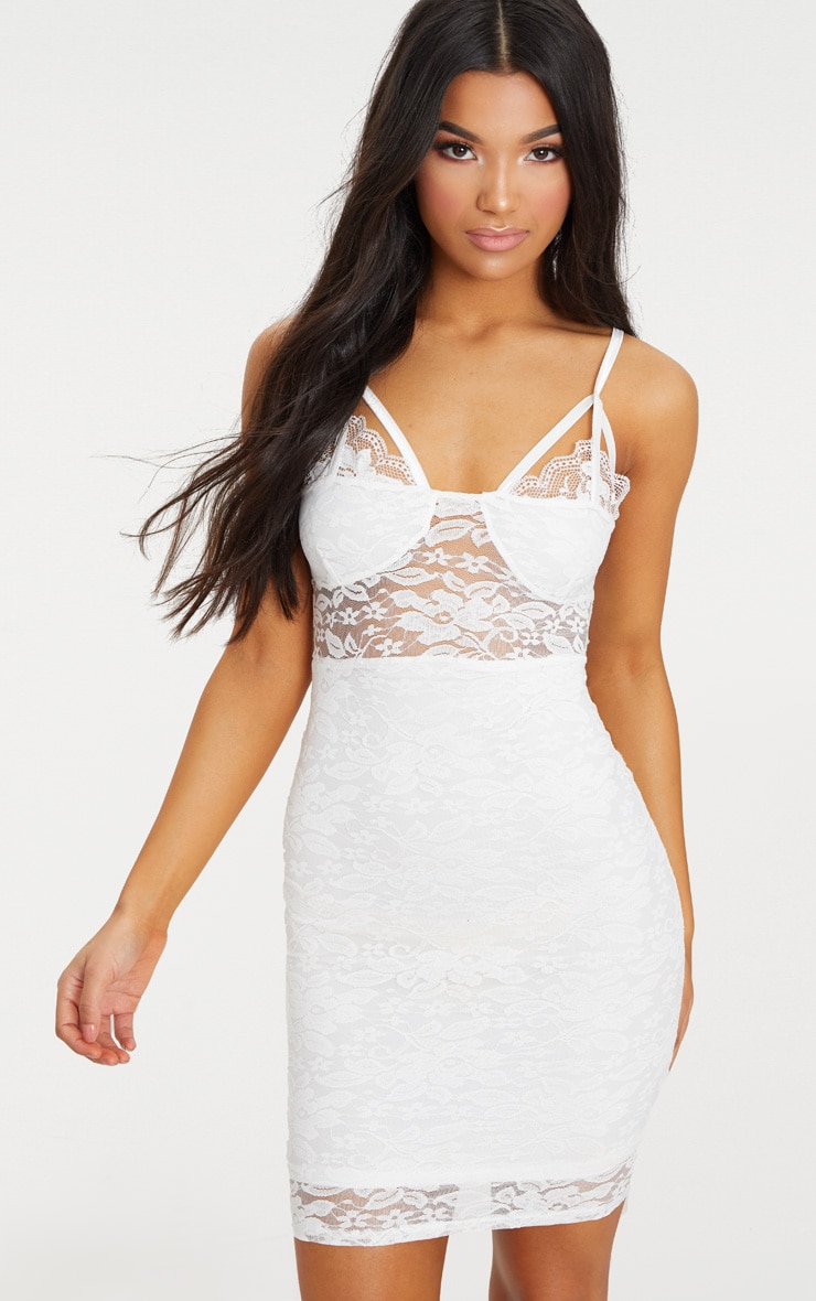 White Lace Strap Detail Bodycon Dress 1