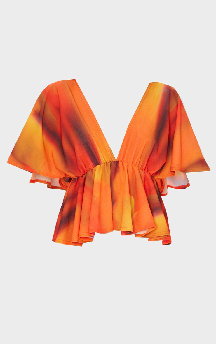 Orange Abstract Stripe Frill Blouse 5