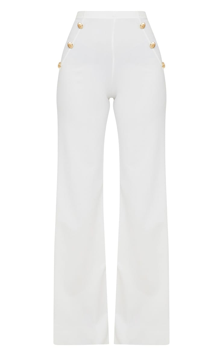 Petite White Military Button Wide Leg Trousers 3