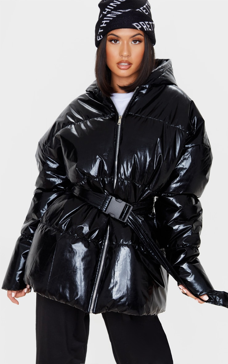 Black High Shine Hooded Midi Belted Puffer Jacket 1