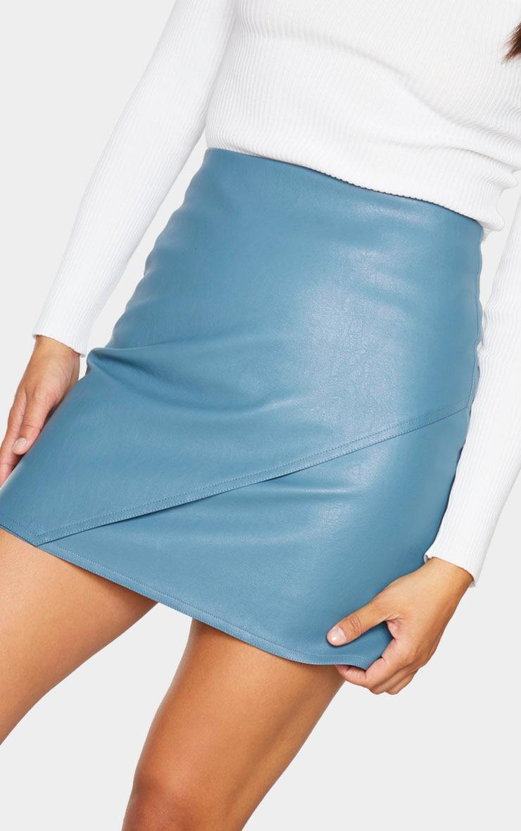 Petrol Blue Faux Leather Wrap Mini Skirt 5