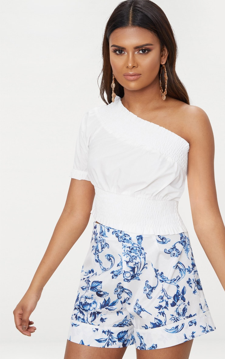 Petite White Shirred One Shoulder Crop Top 1