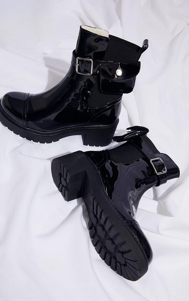 Black Pocket Detail Chelsea Biker Boot 3