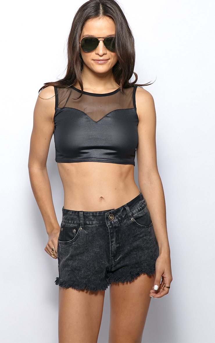 Luella Black High Shine Mesh Crop Top 1