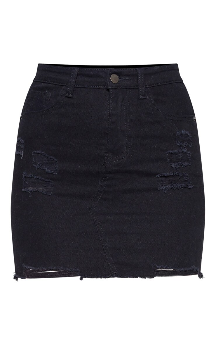 Black Distressed Denim Stretch Skirt 3