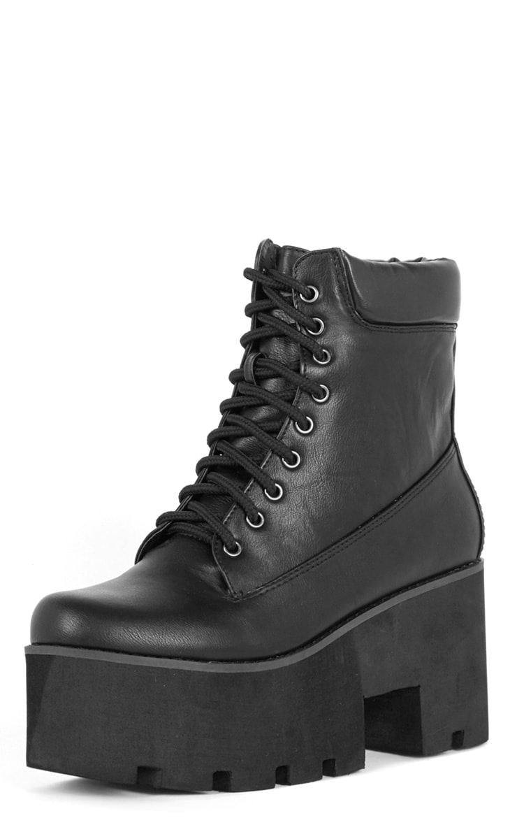 Nova Black Lace Up Wedged Boot 3