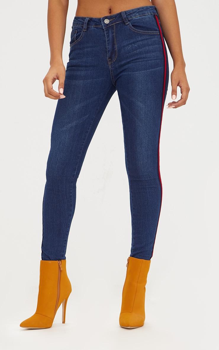 Dark Wash Sports Stripe Skinny Jean 2