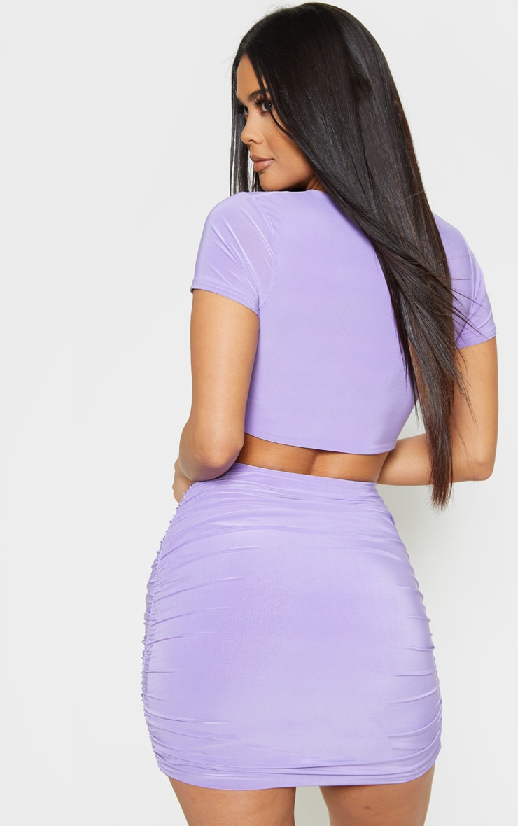 Lilac Slinky V Neck Ruched Front Crop Top 2