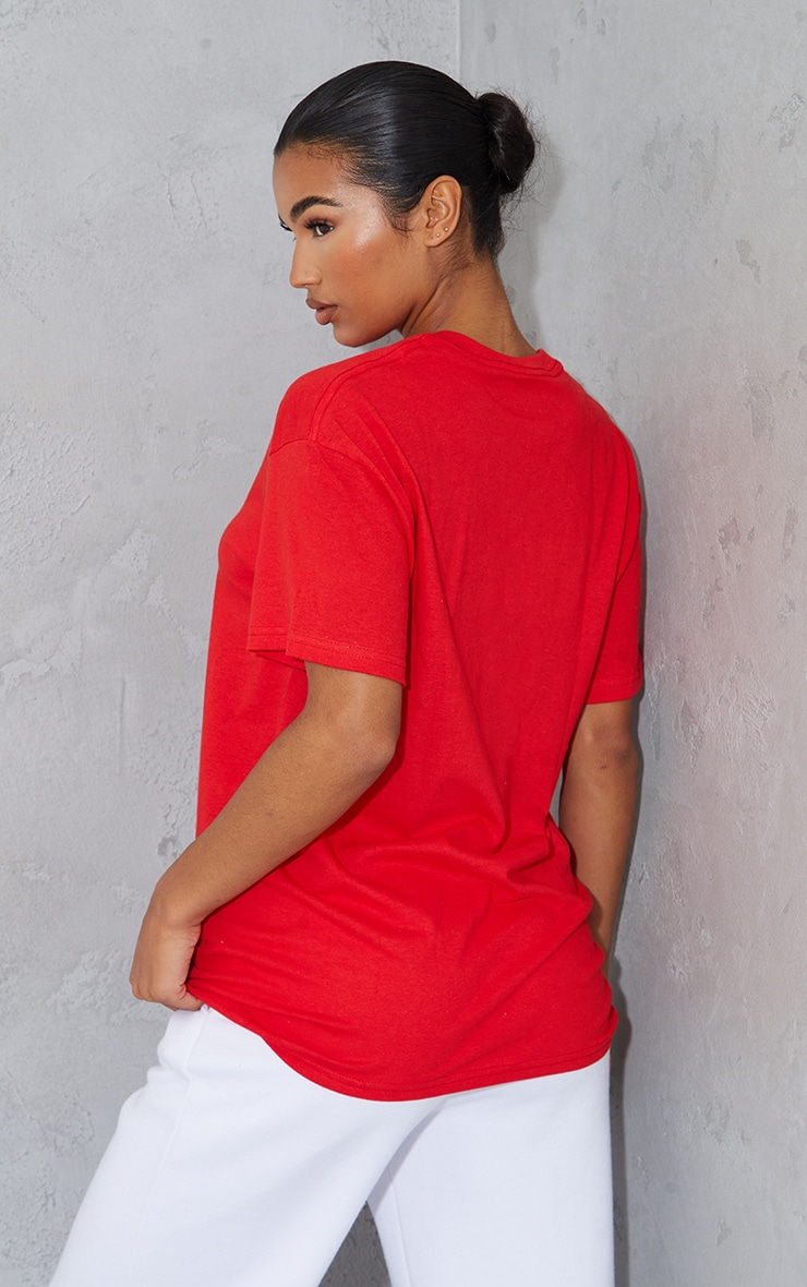 PRETTYLITTLETHING Red Graphic Oversized T Shirt 2