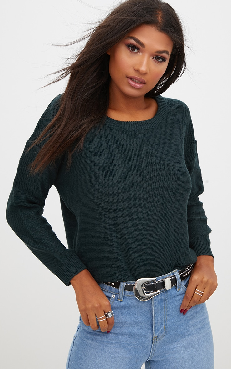 Forest Green Boxy Basic Jumper 1