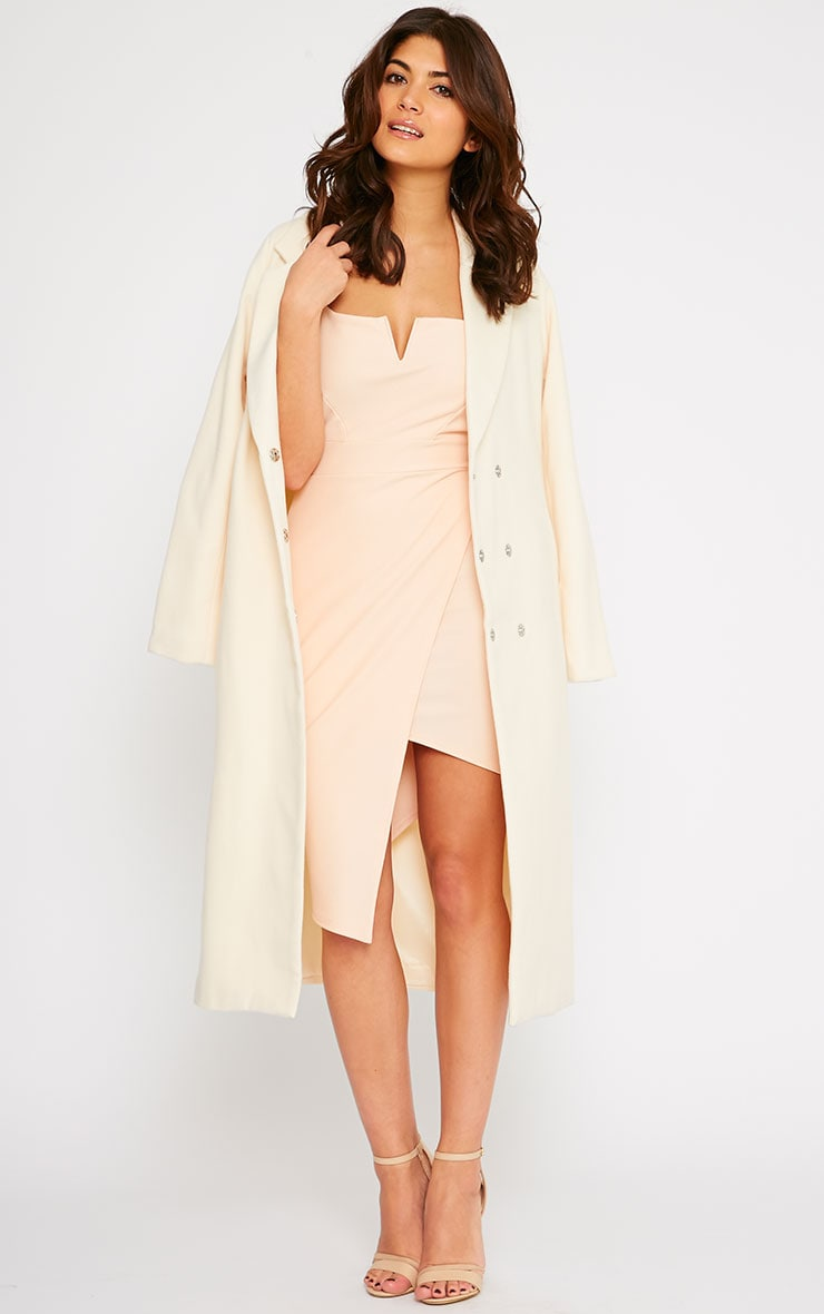 Salana Cream Longline Double Breasted Coat  1