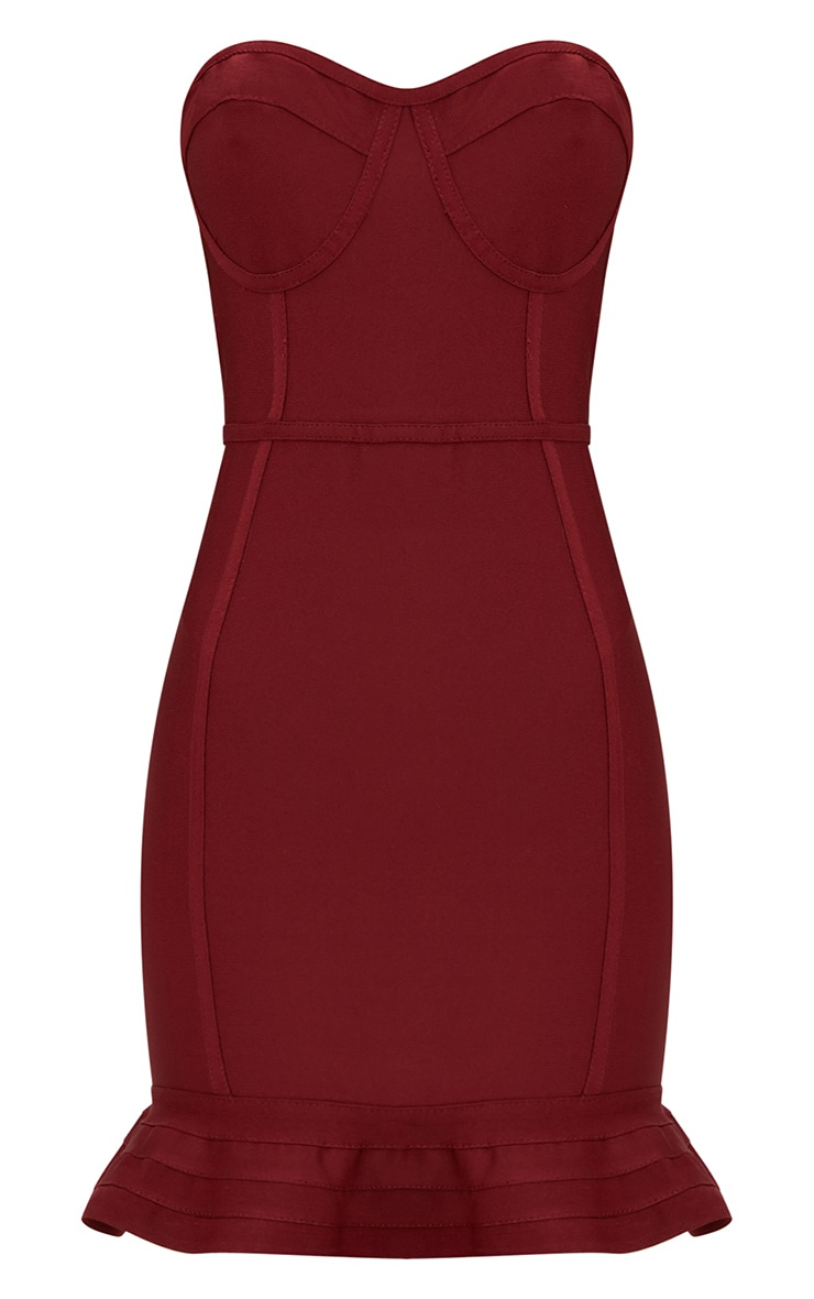 Dark Red Bandage Frill Hem Bodycon Dress  3