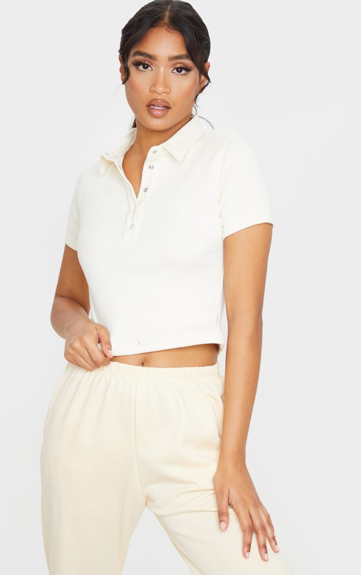 cream popper detail knitted polo top