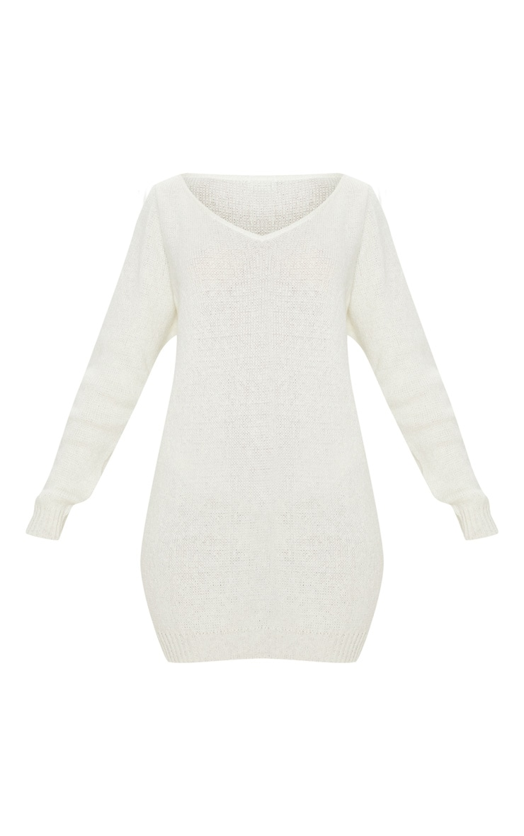 Teylie Cream Soft Knitted Off Shoulder Mini Dress 3