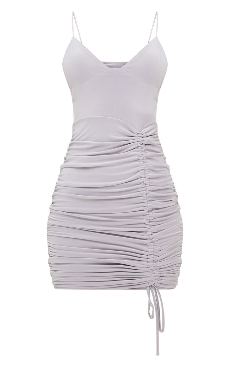 Ice Grey Strappy Plunge Ruched Tie Bodycon Dress 4
