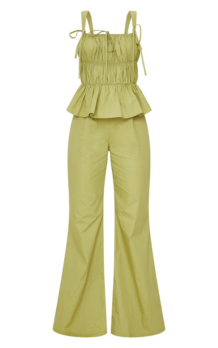 Khaki Ruched Bust Strappy Peplum Jumpsuit 5