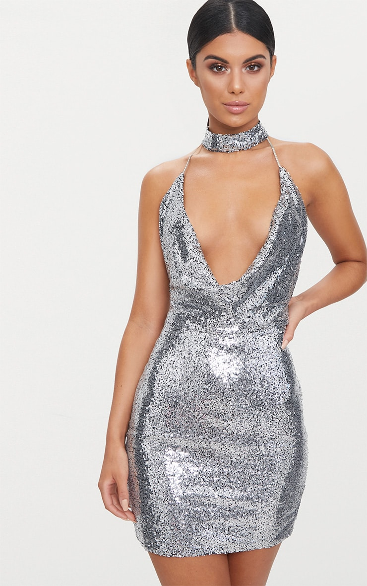 Silver Cowl Neck Chain Detail Bodycon Dress 1