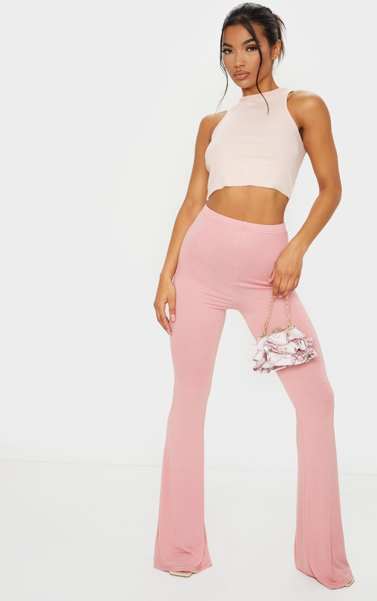 Baby Pink Jersey Flared Trousers 1