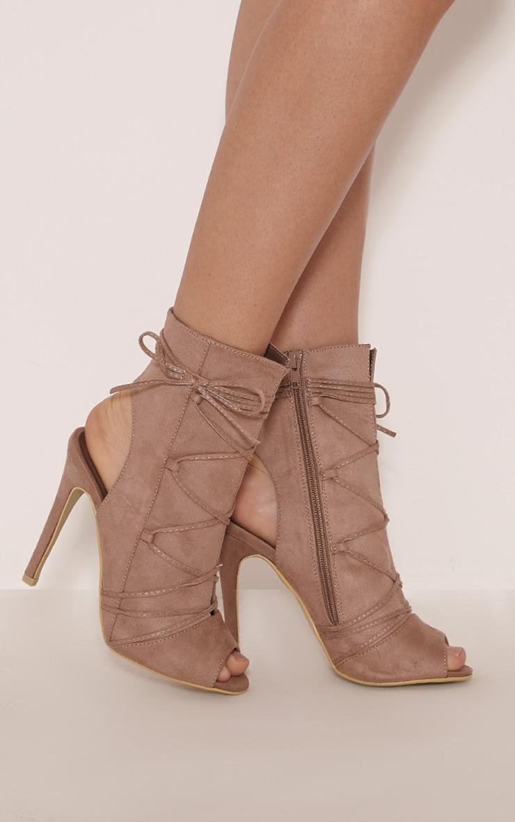Alyssa Mocha Open Back Lace Up Heels 2