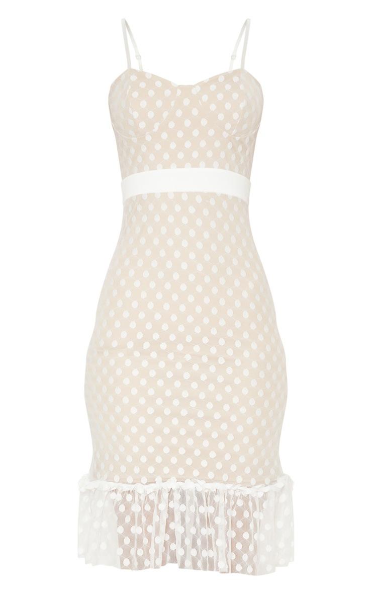 White Polka Dot Mesh Strappy Frill Hem Bodycon Dress 3