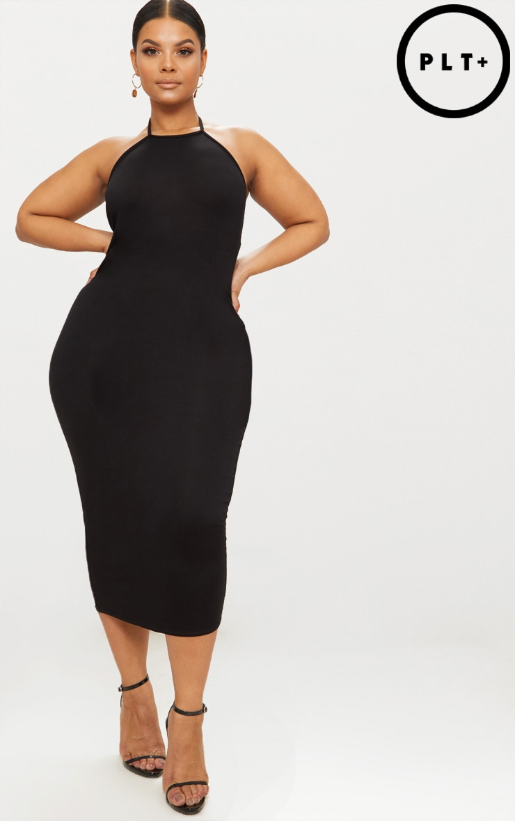 Plus Black Halterneck Midi Dress