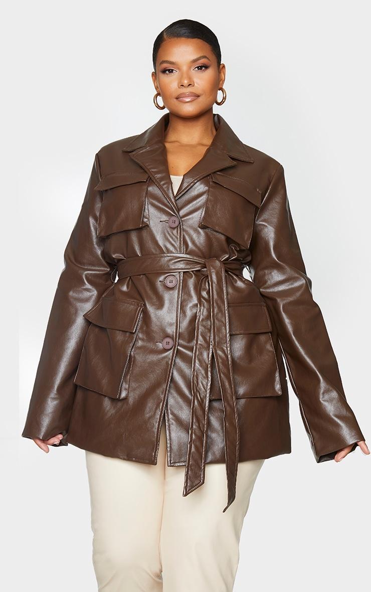 Plus Chocolate Brown PU Longline Pocket Front Jacket 3