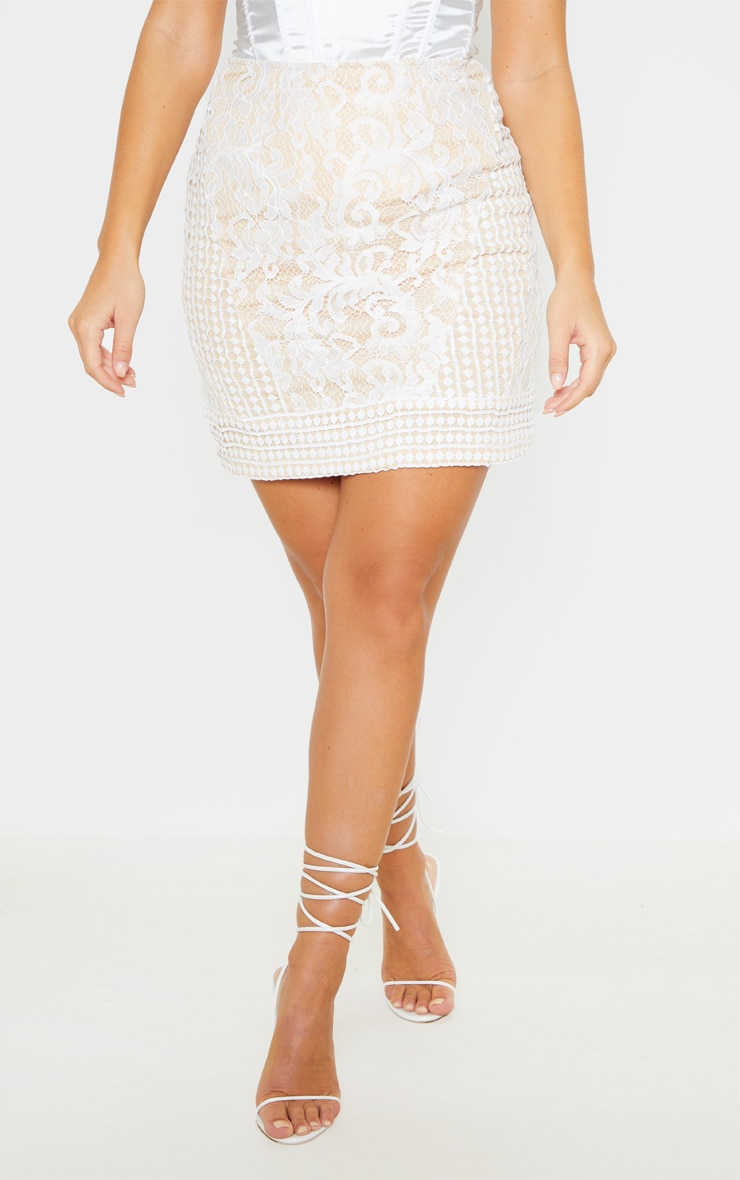 White Lace Mini Skirt 2