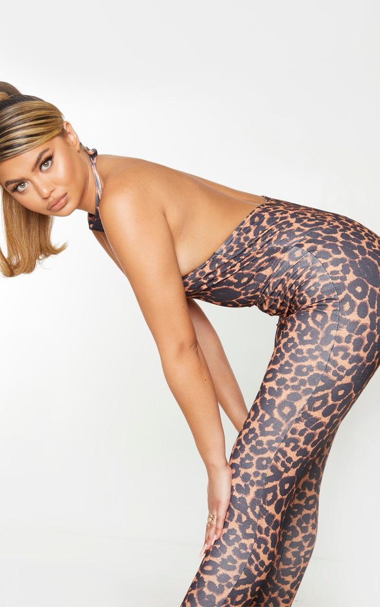 Tan Leopard High Neck Split Hem Jumpsuit 4