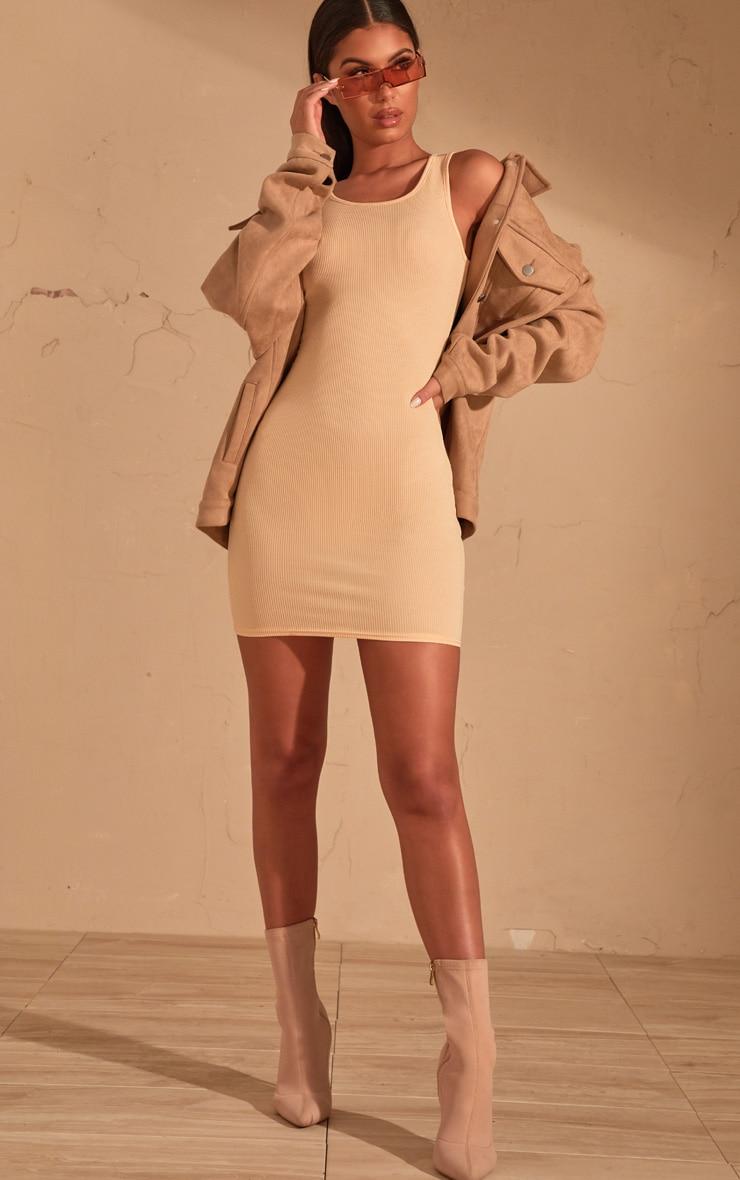 Cream Ribbed Scoop Neck Bodycon Dress  4