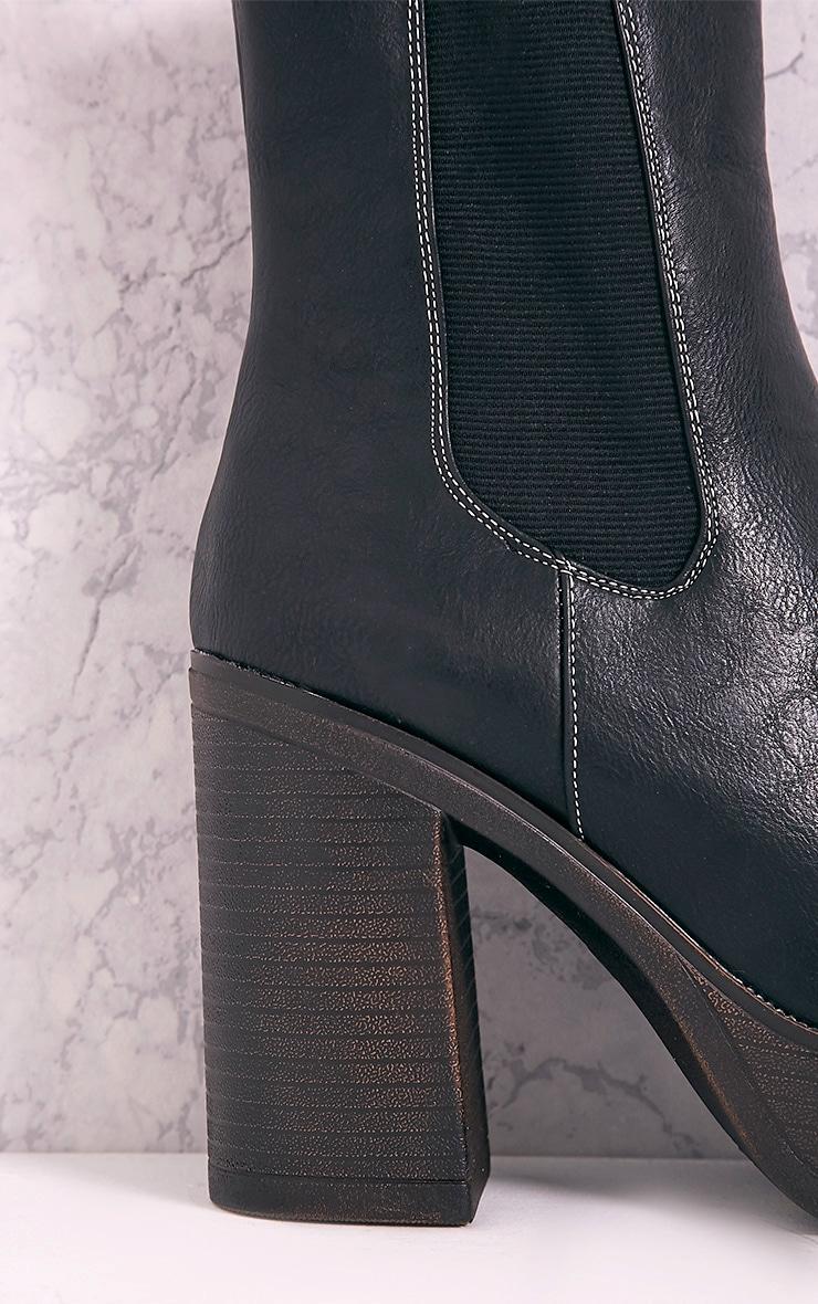 Shana Black PU Wooden Platform Ankle Boots 5
