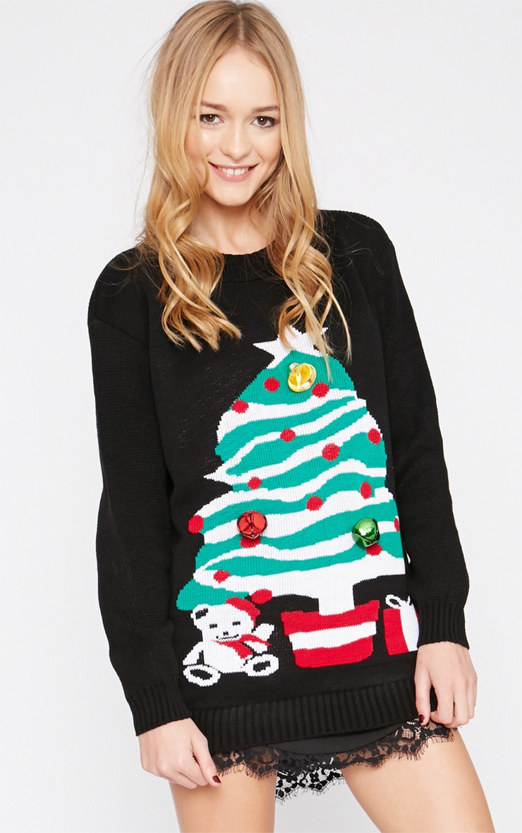 Breanne Black Jingle Bell Embellished Christmas Tree Jumper  1